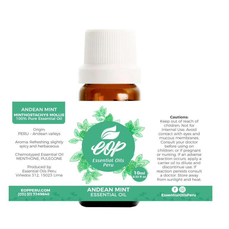 label of andean mint oessential oil