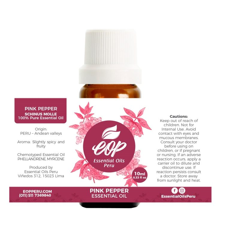 label Pink pepper essential oil